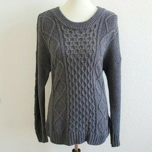 Madewell cable knit gray sweater, size large